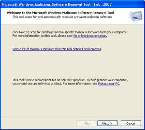 Microsoft Malicious Software Removal Tool MSRT
